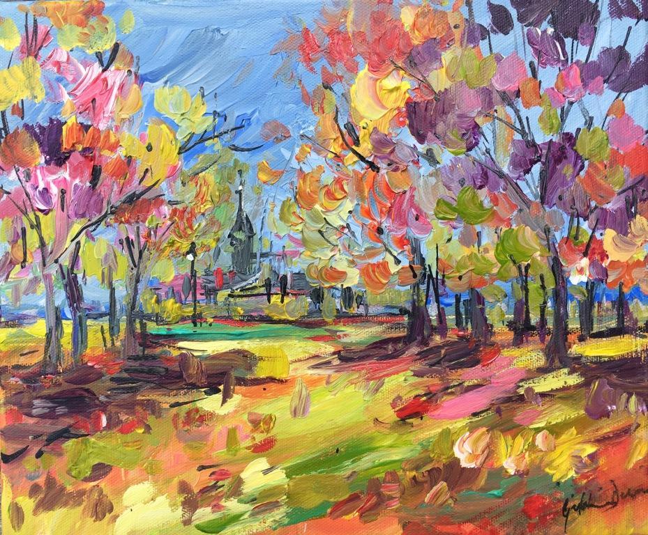 Autumn Walk on the Common mixed media on canvas 61.5 x 56.5 cm
