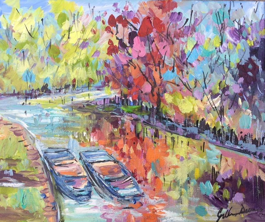 Cambridge Punts mixed media on canvas 61.5 x 56.5 cm