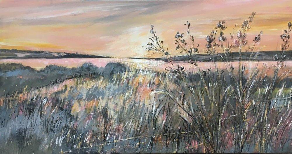 Evening Light at Rutland Water 50 x 100 cm