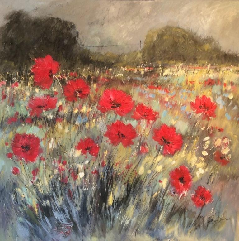 Poppy Fields and Forget-Me-Nots mixed media on canvas 100 x 100 cm