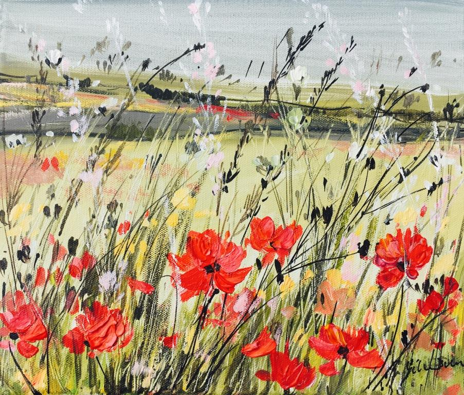 Poppy Fields and Grasses acrylic on canvas 61.5 x 56.5 cm