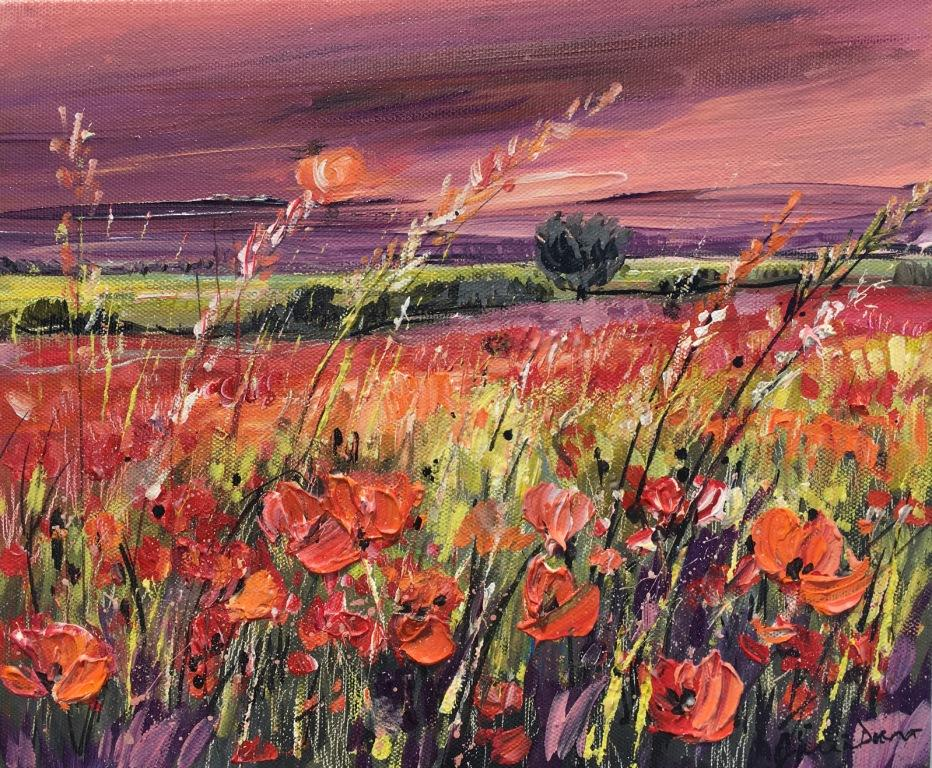 Poppy Fields at Sunset mixed media on canvas 61.5 x 56.5 cm