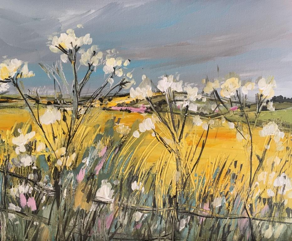 Rape Fields and Cow Parsley mixed media 61.5 x 56.5 cm