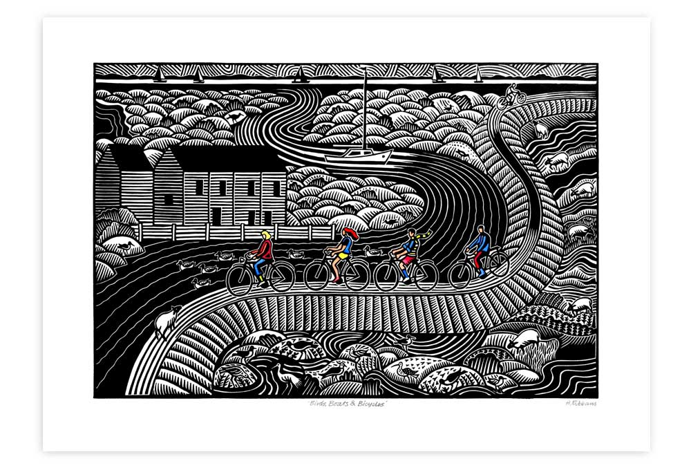 Birds Boats and Bicycles .  30cm x 47cm   linocut   £160 unframed