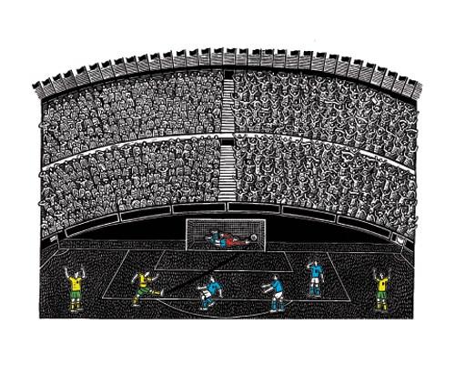 Goal!  41cm x 56cm   linocut   £150 unframed