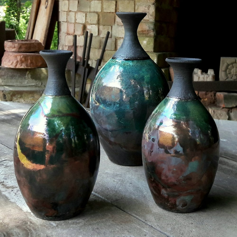 Raku Bottle  ceramic  16 x 8cm £35  20 x 11cm £55  23 x 13cm £85