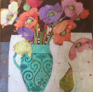 Pear and Oriental Poppies  61cm X 61cm  SOLD