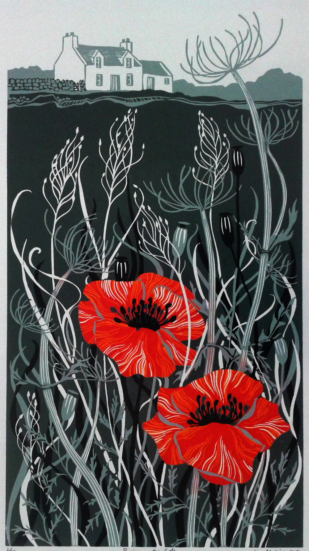 Poppies on the Croft  linocut  £170 (unframed)