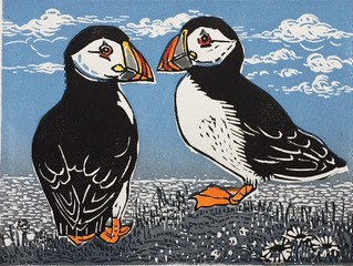 Peerie Puffins  linocut  with hand colouring    £65.00