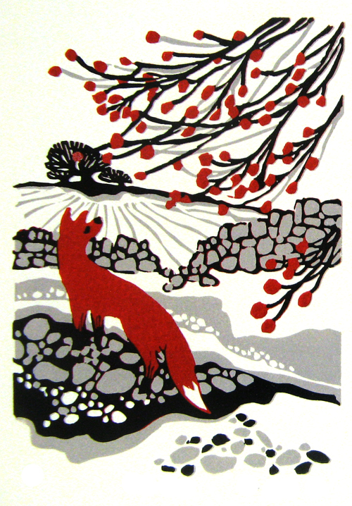 Winter Fox 1  linocut  £90 (unframed)