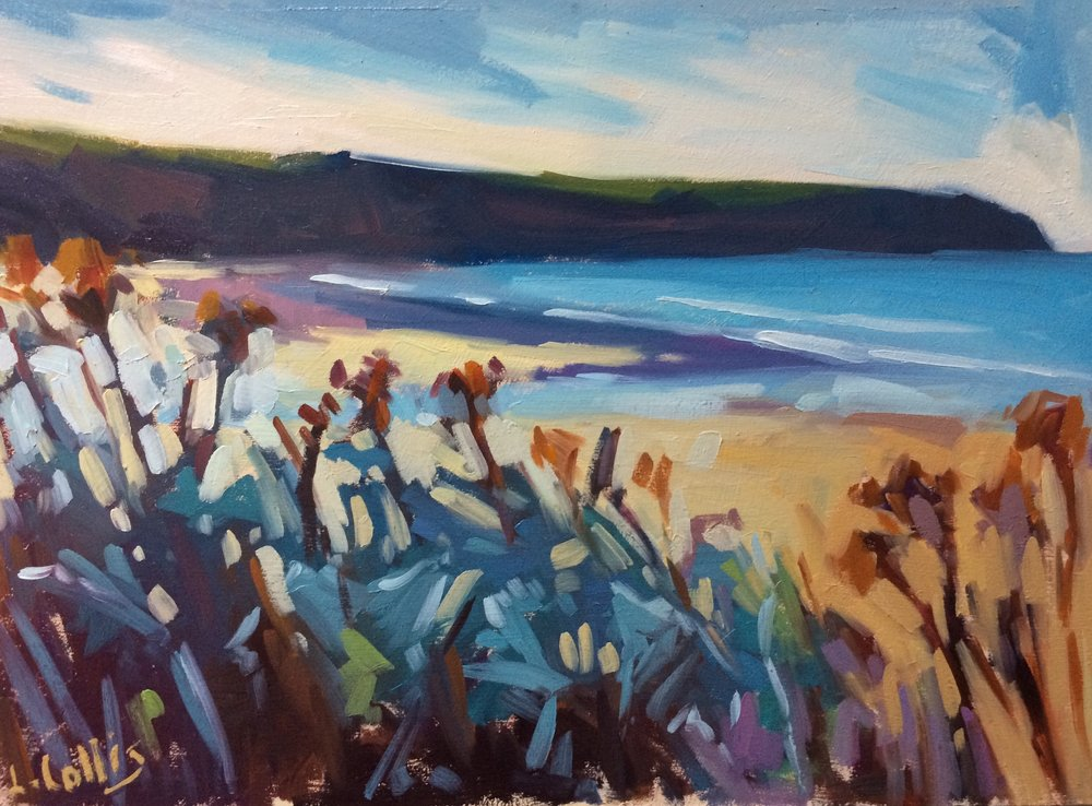Winter Foliage and Headland  oil on board  21cm X 17cm image size  sold
