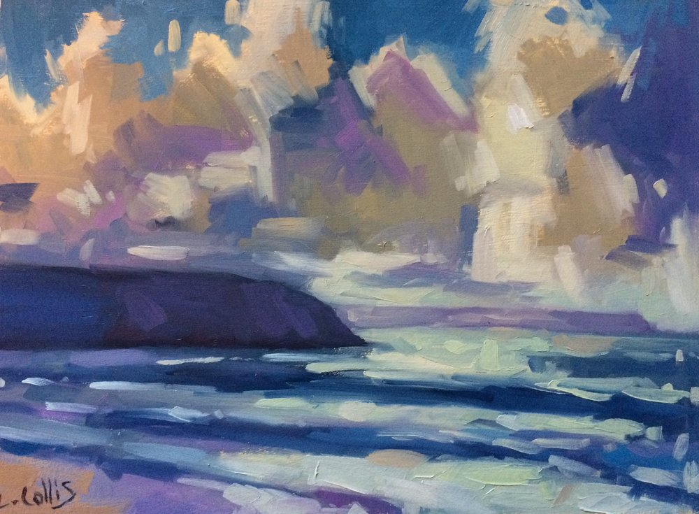 Clouds over Baggy Point  oil on board  21cm X 17cm image size  35cm X 30cm frame size  £195