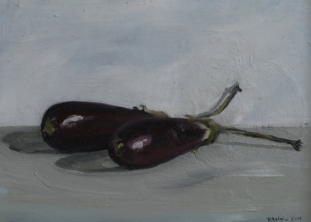 Two Aubergines   oil on gesso panel   13 x 18  £415
