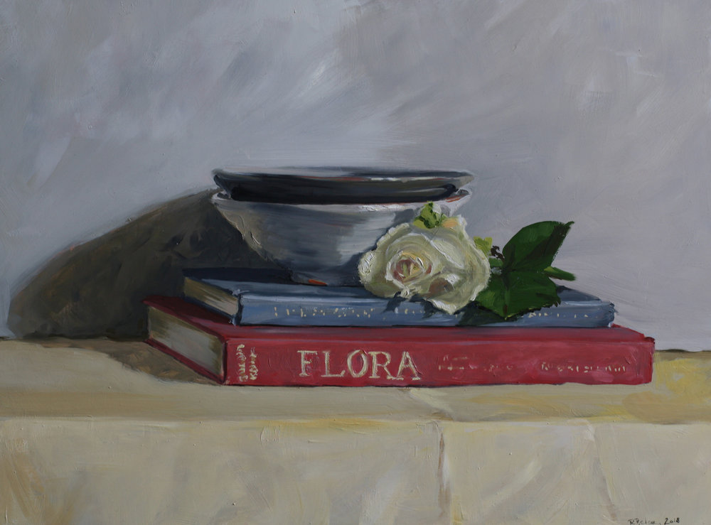 Books, bowl and a White Rose   oil on gesso panel   30 x 40cm painting size  45 x 55cm frame size  SOLD