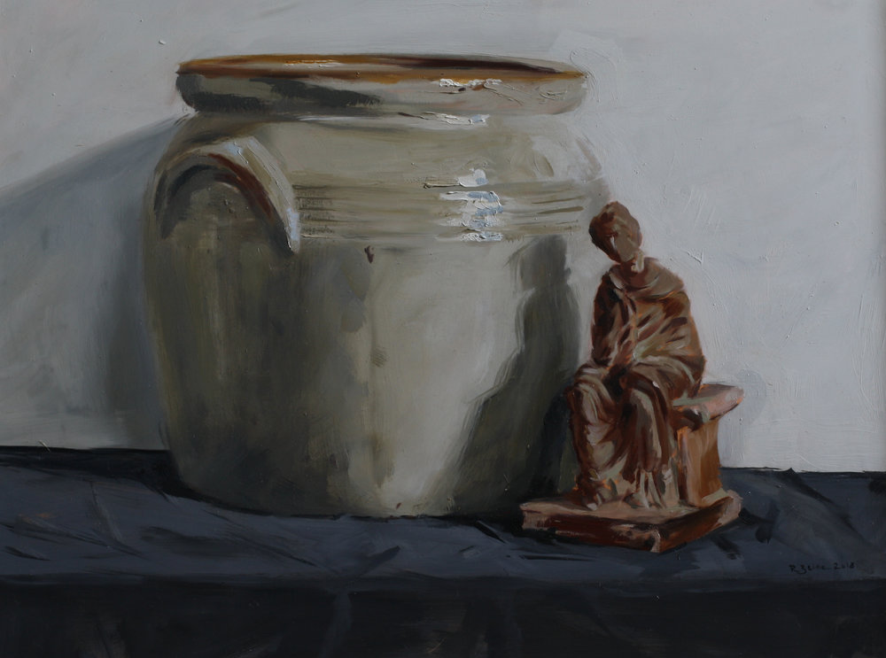 Confit Pot and Terracotta Figurine II   oil on gesso panel   30 x 40cm painting size  45 x 55cm frame size  £850