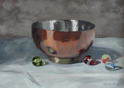 Copper Bowl and Marbles   oil on gesso panel   13 x 18  SOLD