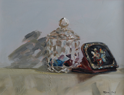 Jam Jar and Purse   oil on gesso panel   18 x 24  £525