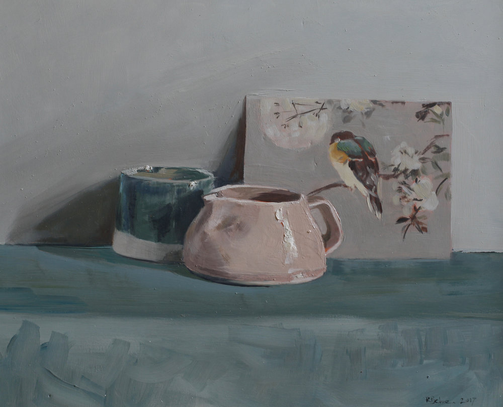 Pot, Jug and Postcard   oil on gesso panel   24 x 30  £685