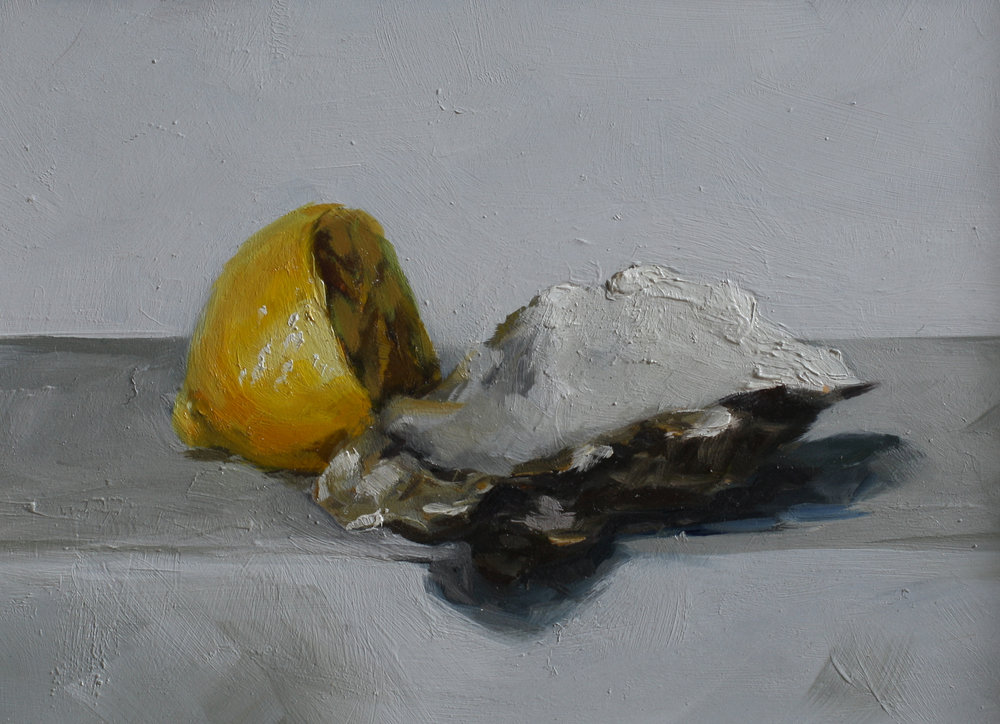 Oyster Shell and Lemon   oil on gesso panel   13 x 18  £415