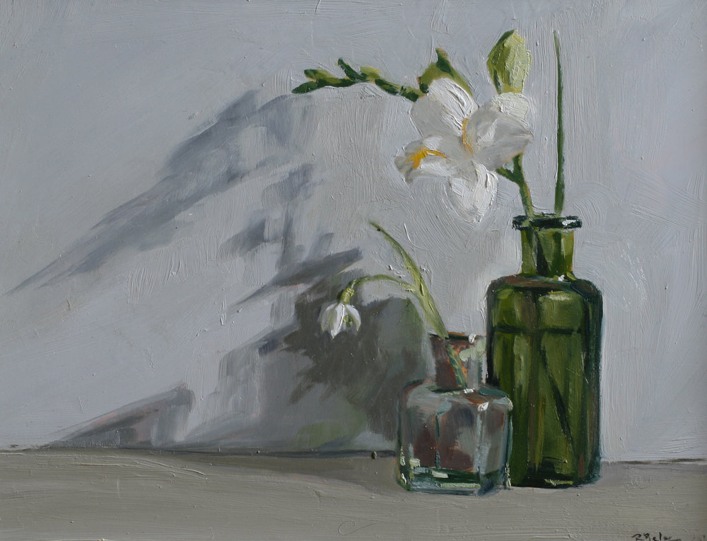 Snowdrop and Freesia   oil on gesso panel   18 x 24  SOLD