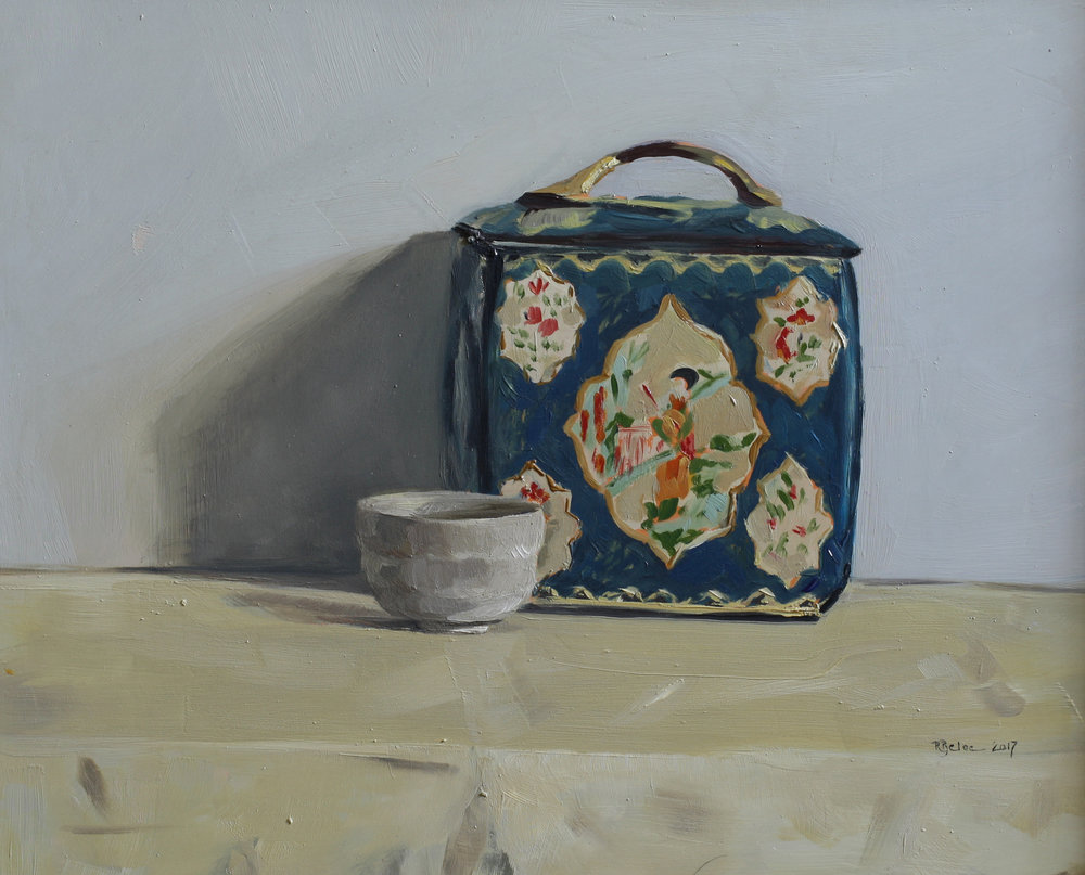 Tea Caddy and Cup   oil on gesso panel   24 x 30  £685