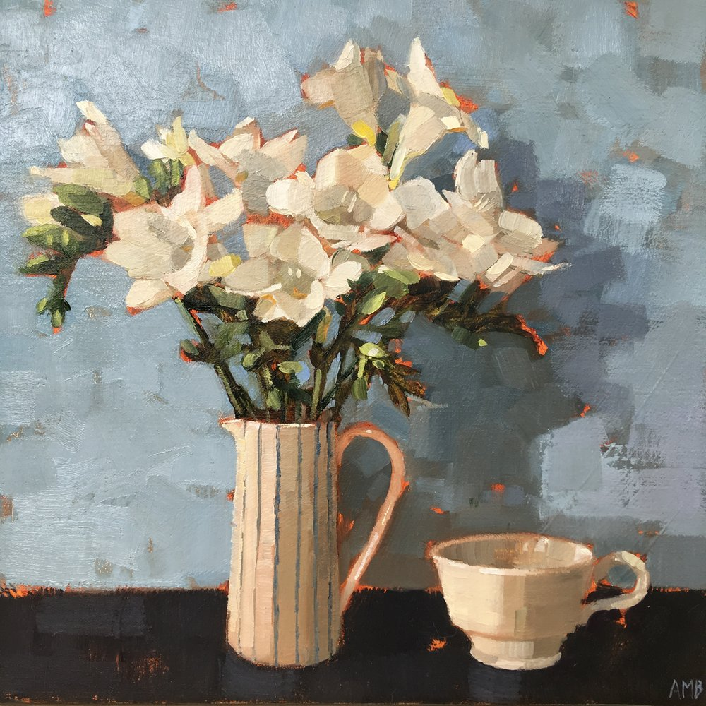 Freesias with White Cup  oil on linen  30 x 30cms  SOLD