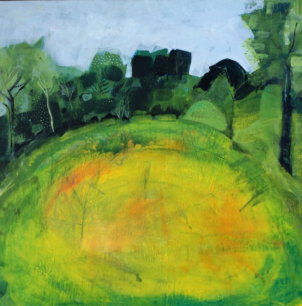 The Buttercup Field  acrylic on gesso on board  73 x 64 cm  £1,200