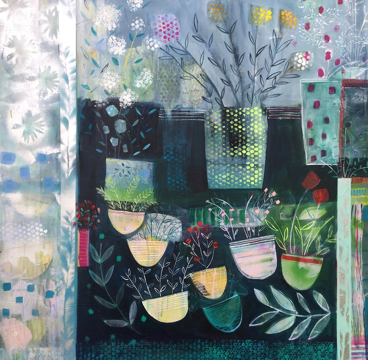 Pots and Plants  Acrylic and mixed media  92 X 92 cm  sold