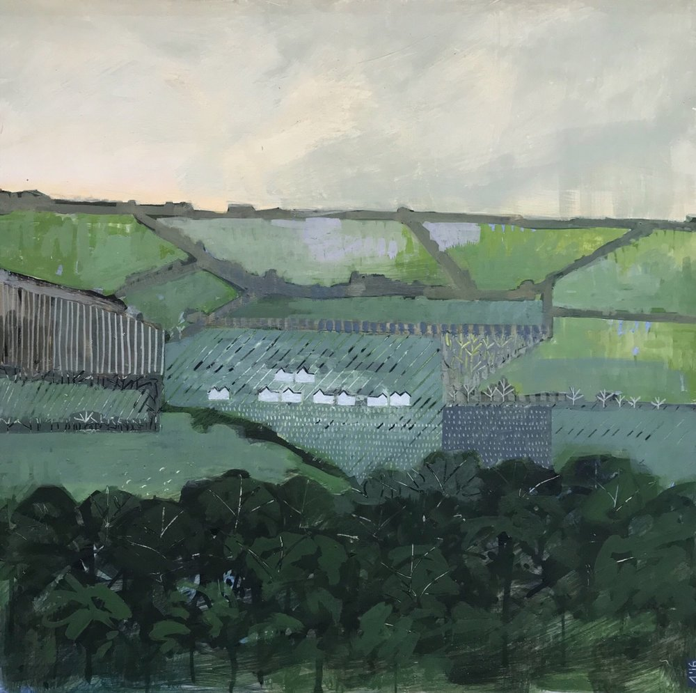 Carlingcott After Rain  egg tempera on gesso board  37 x 37cm  £850