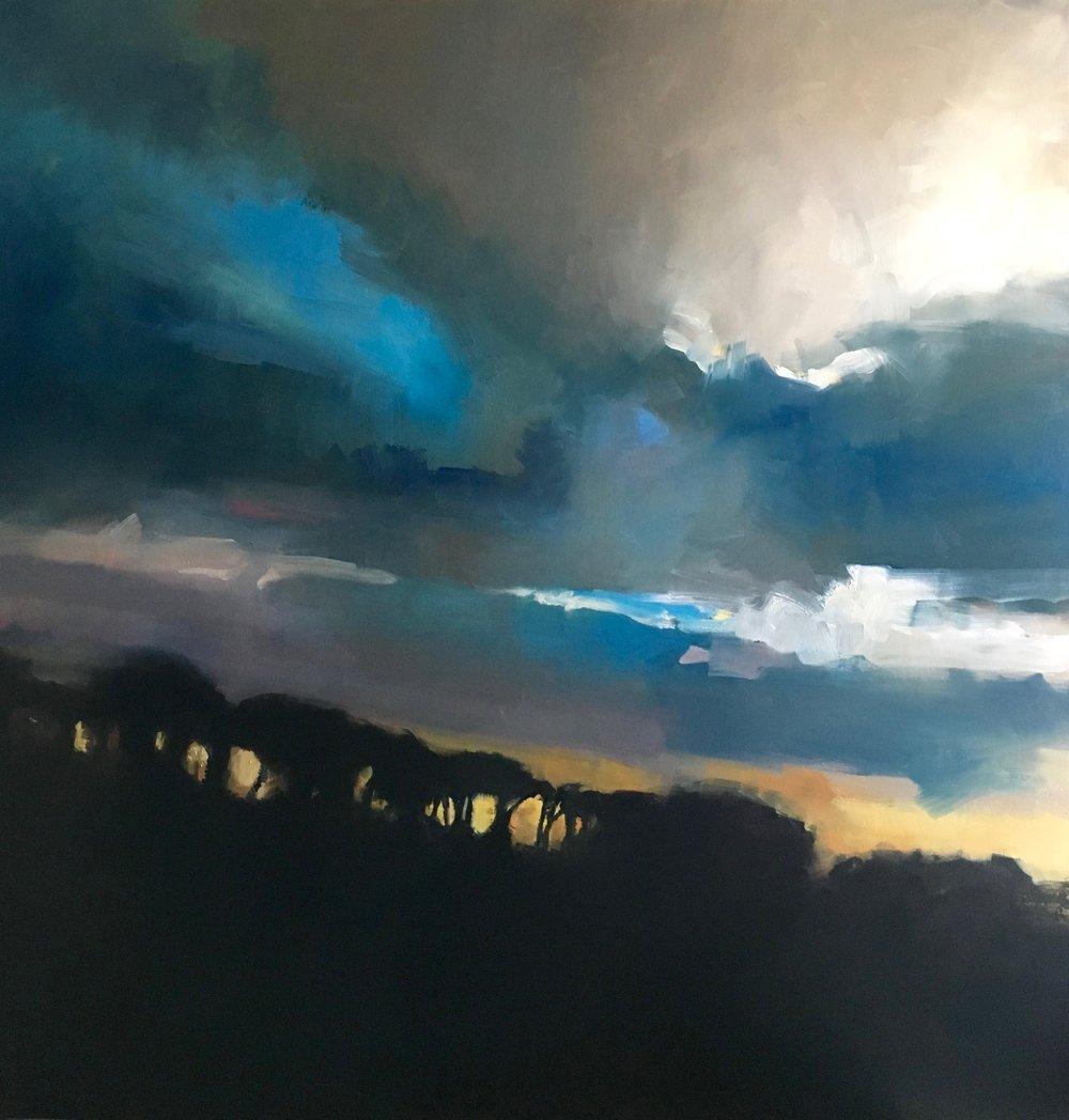 Treeline  oil on canvas  104 x 104 cm (framed)  SOLD