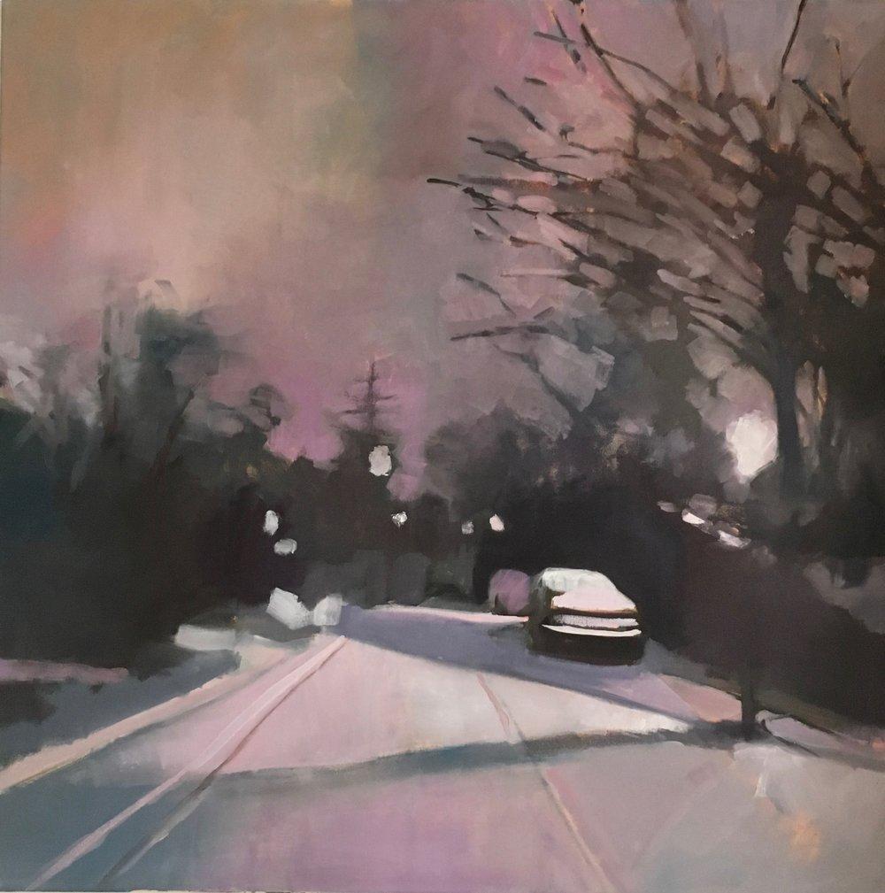Cambridge in Winter  oil on canvas  104 x 104 cm (framed)  £1350