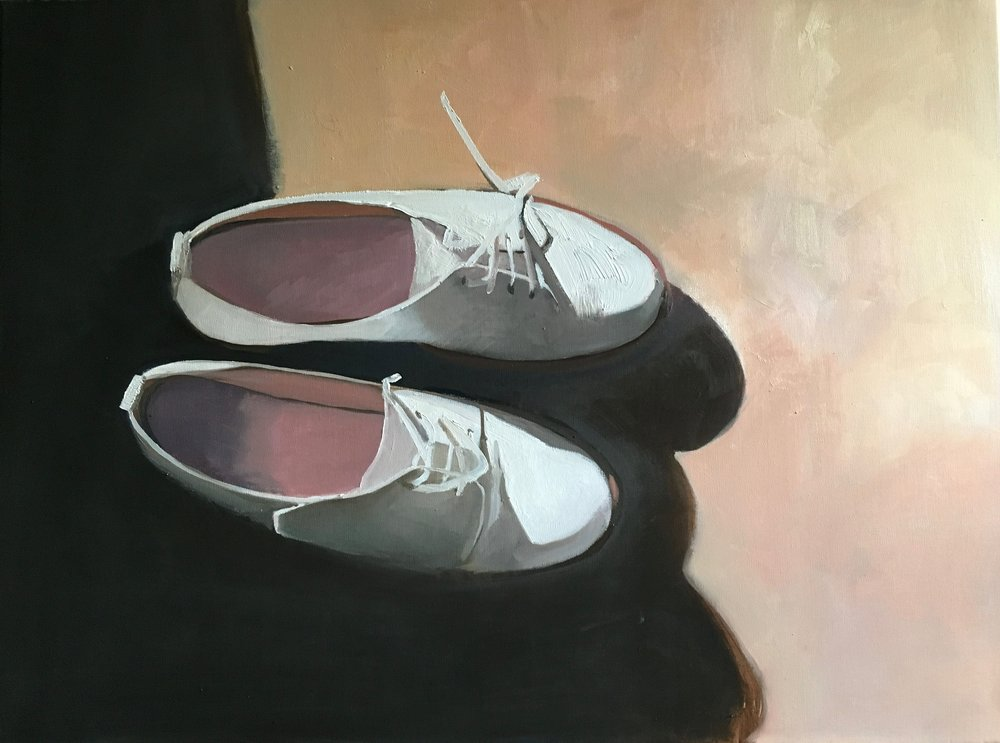 White Shoes: Study of Light and Shade  oil on linen  64 x 48 cm (framed)  £800