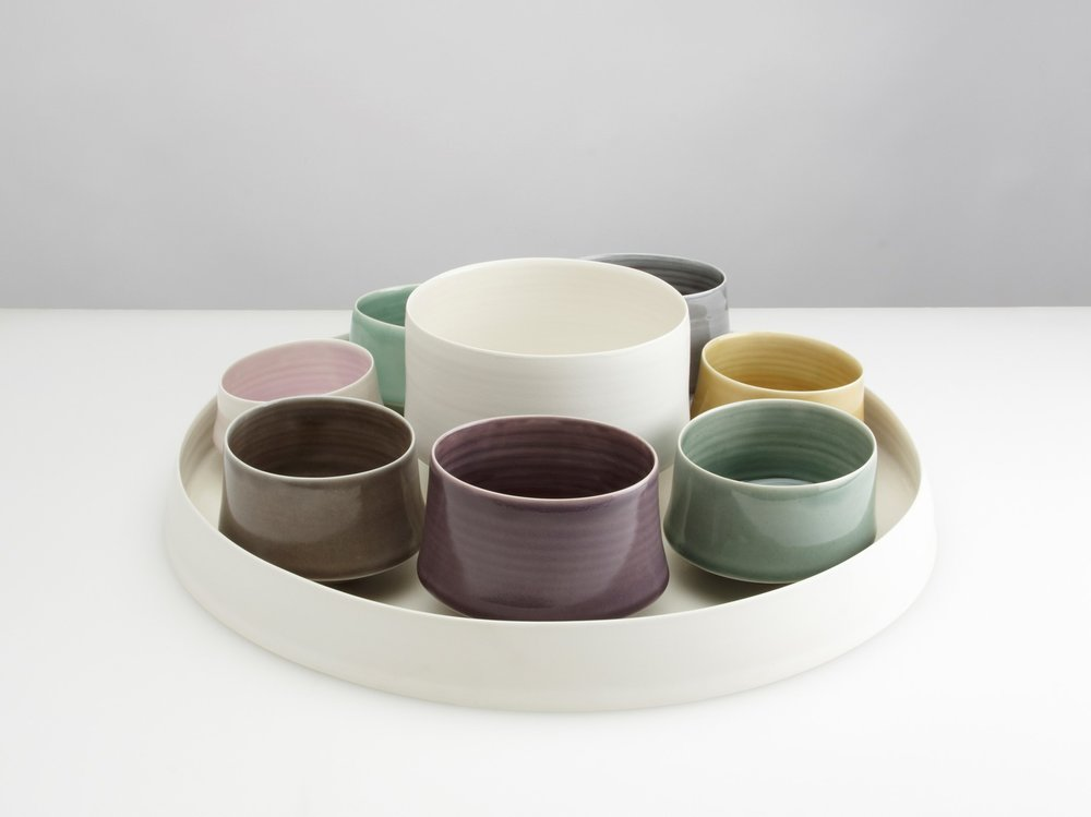 Oriole Supper Set  ceramic  Dish - 4 x 27 cm  large white vessel - 9 x 10 cm  small coloured vessels - 5.5 x 5 cm approx.   £403
