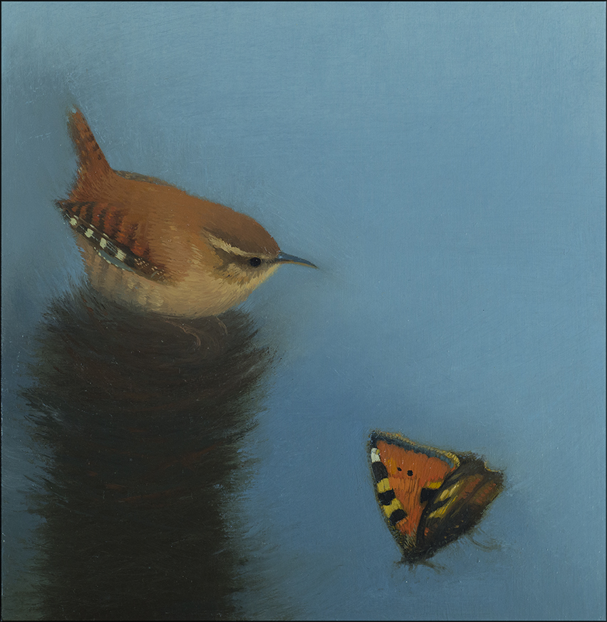 Wren with Tortiseshell Butterfly on a Nest Tower  oil on board  20cm x 20cm  £495