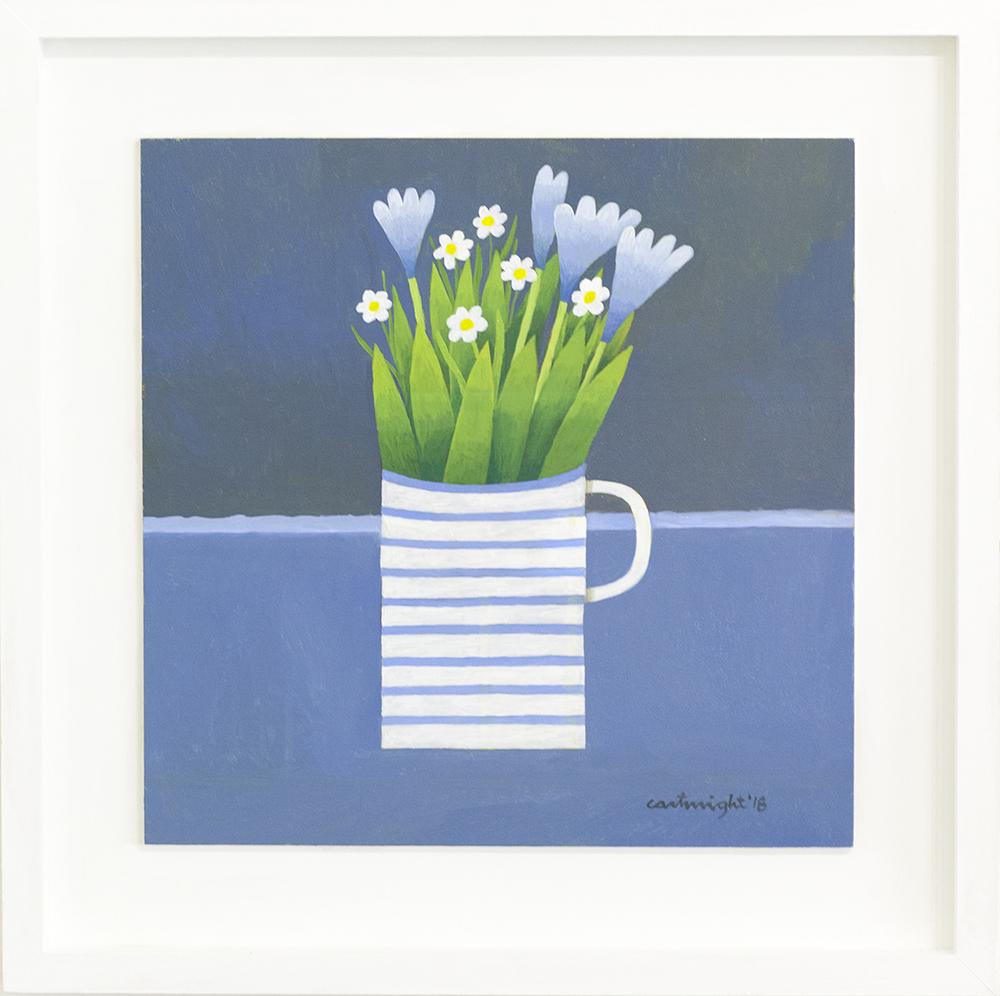 Flowers in a Striped Mug  oil on board  36 x 36 cm  £1,000
