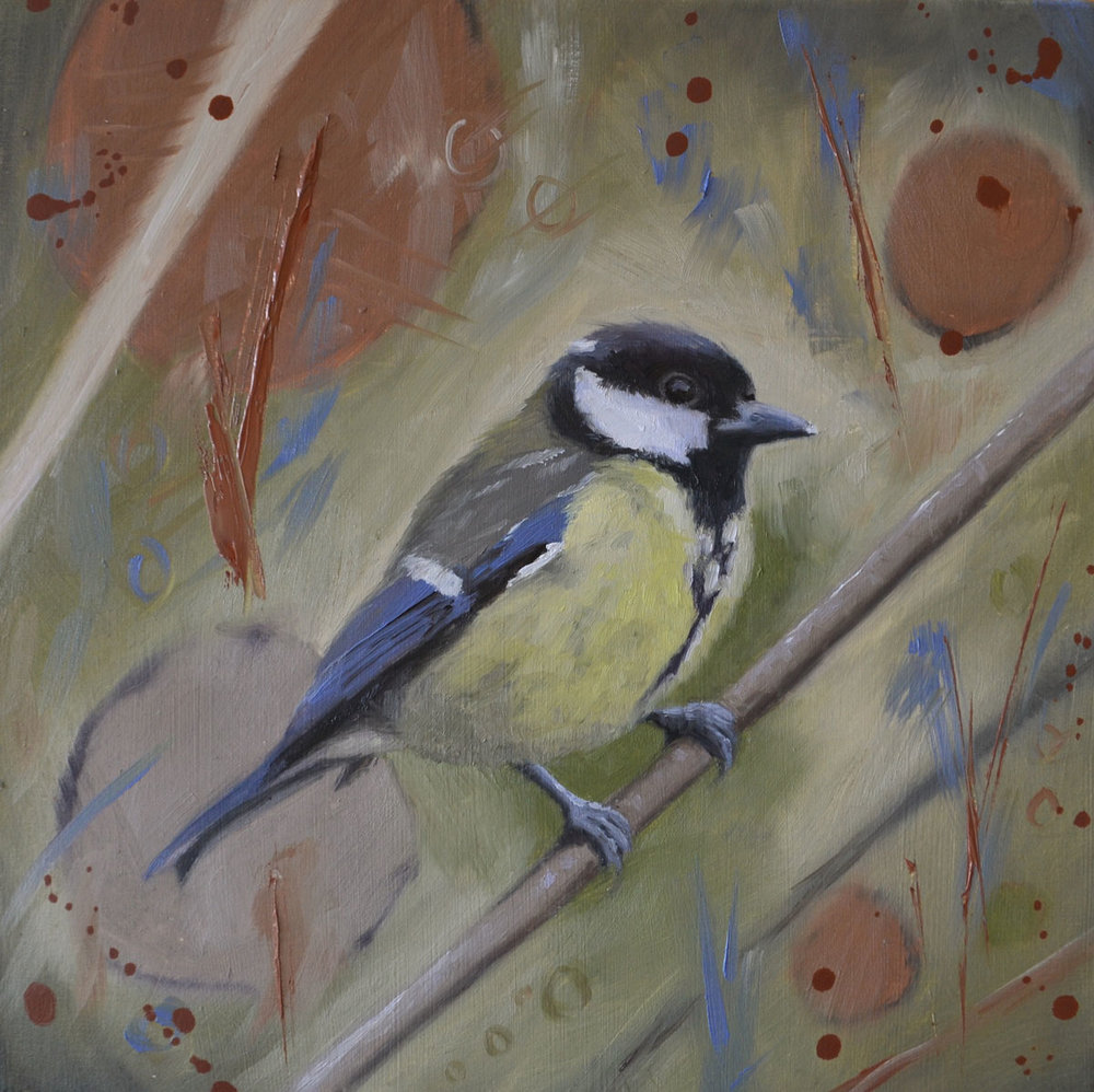 Great Tit   P ainting  26.5 x 26.5 cm Framed  £195