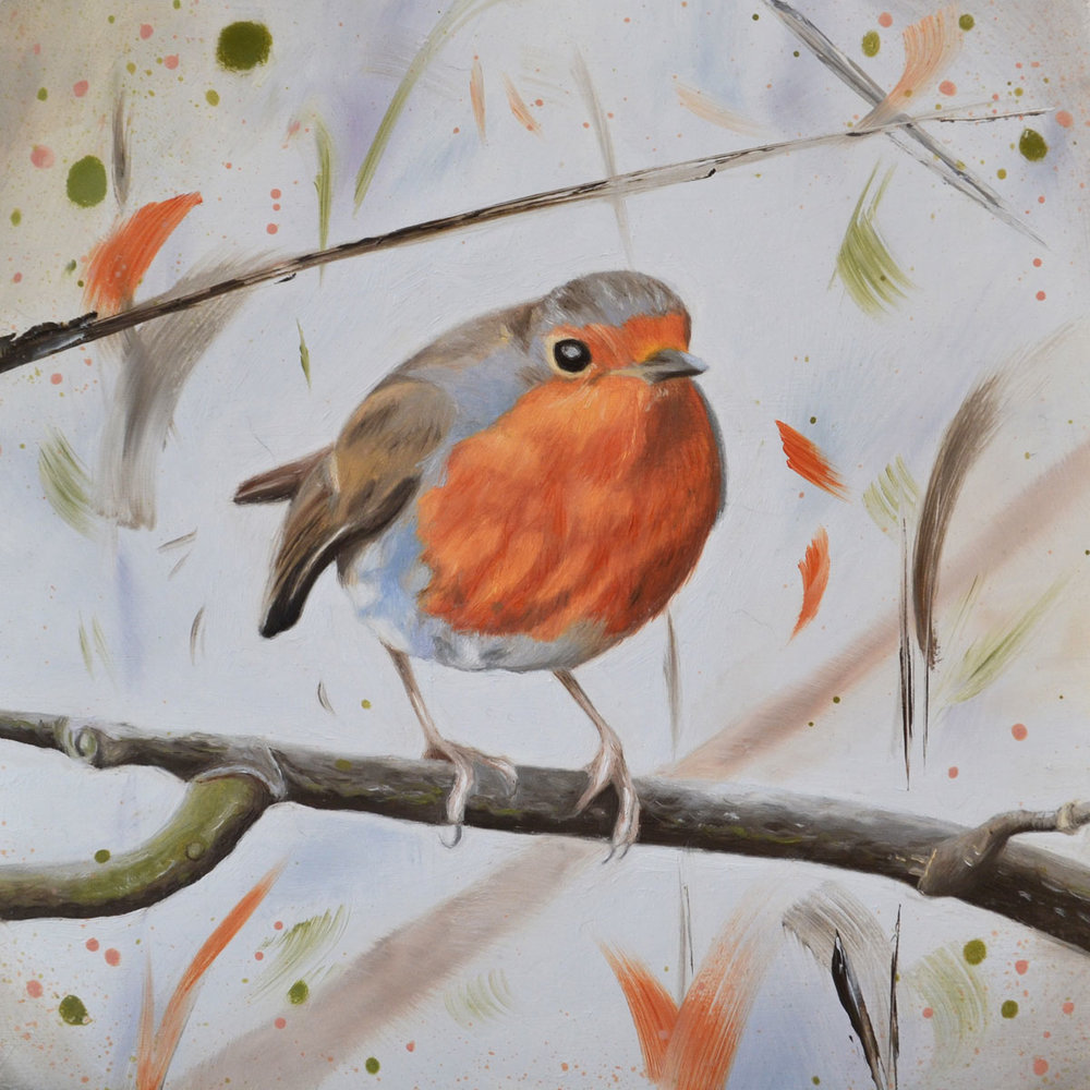 Robin on Branch   P ainting  26.5 x 26.5 cm Framed  £195
