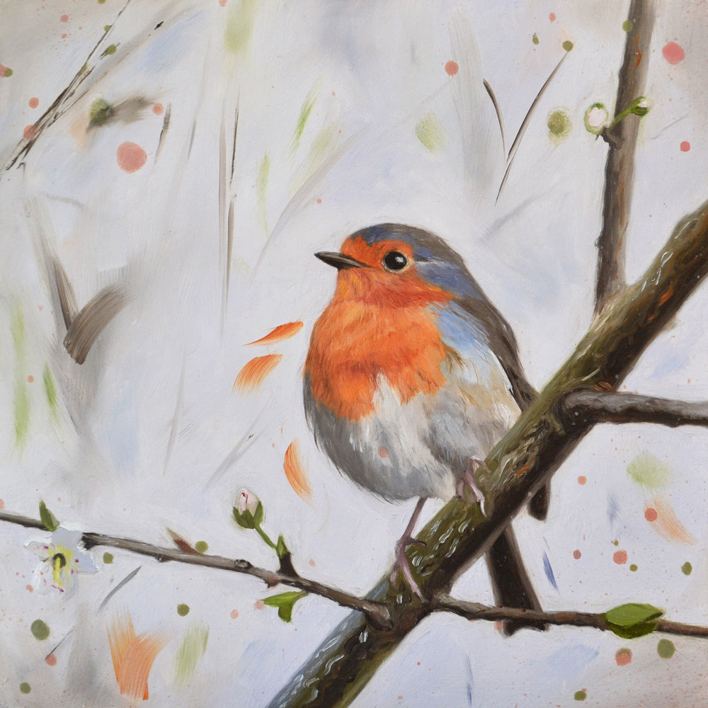 Robin with Blossom  Painting  26.5 x 26.5 cm Framed  sold