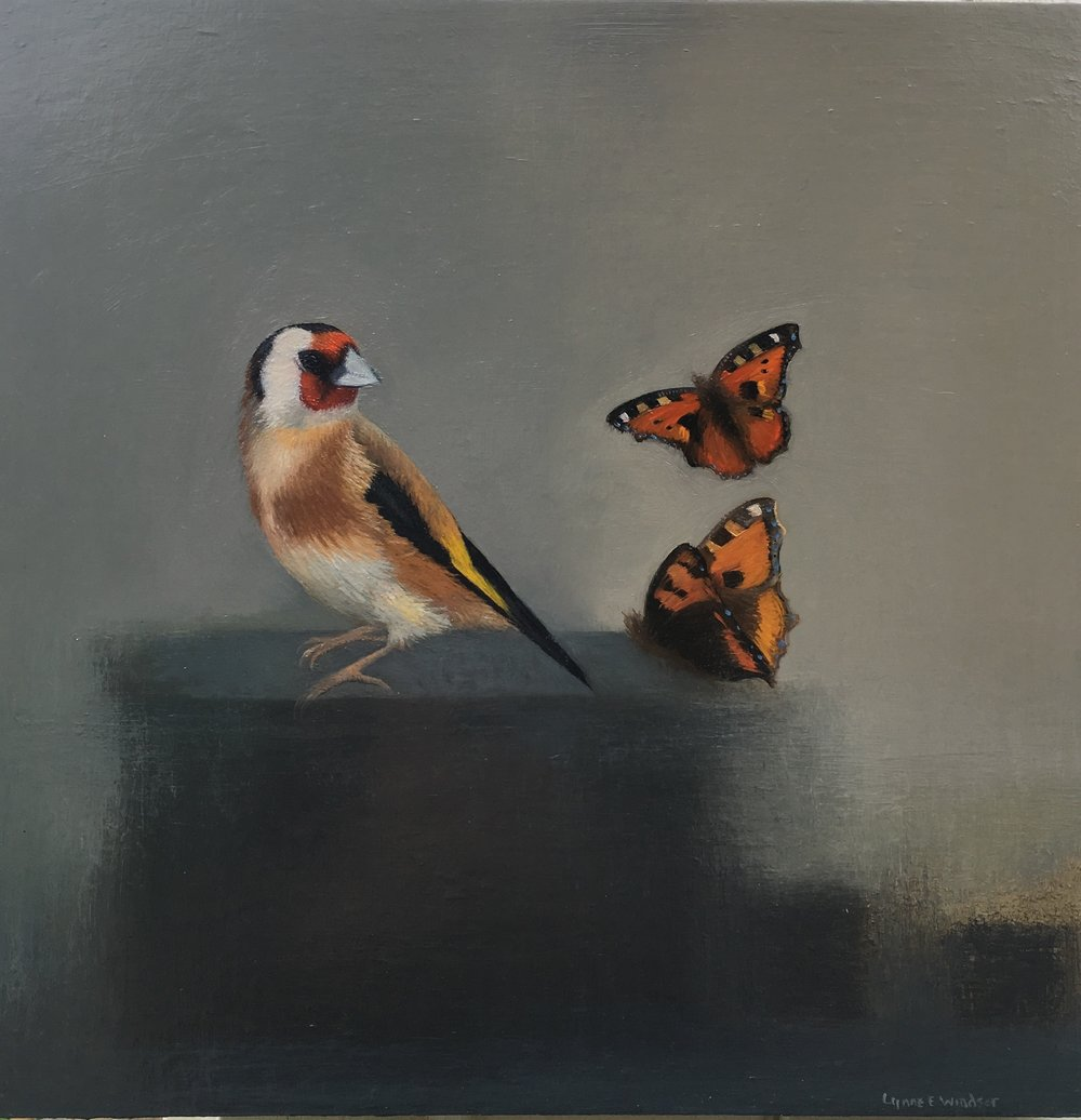 Goldfinch With Two Tortoiseshell Butterflies  Oil on Panel   £368