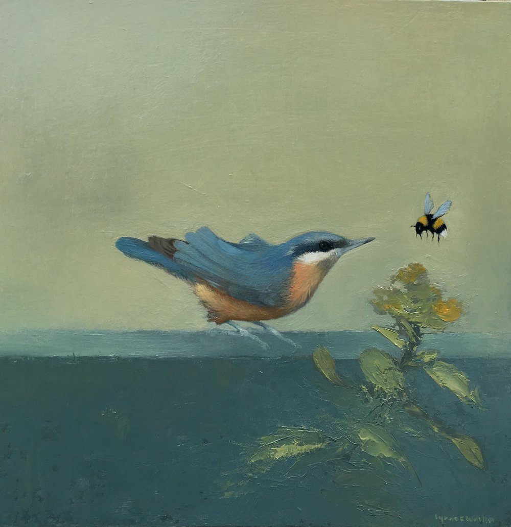 Nuthatch and Bumblebee  Oil on Panel  £368