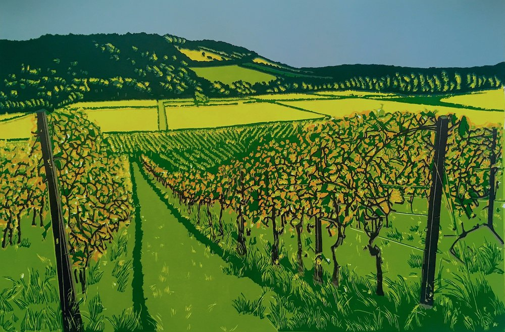 Box Hill View from Denbies   reduction   linocut