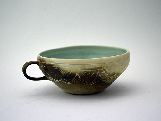 Curved Smoke Fired Cup  ceramic  6 x 15 cm approx.   £50
