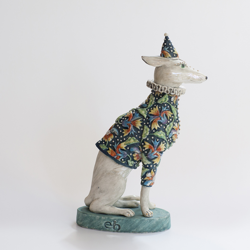 Brocade Hound  ceramic  19x11x6cm  sold