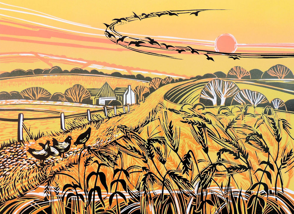 Harvest Fields    linocut   44.5 x 33cm   £165