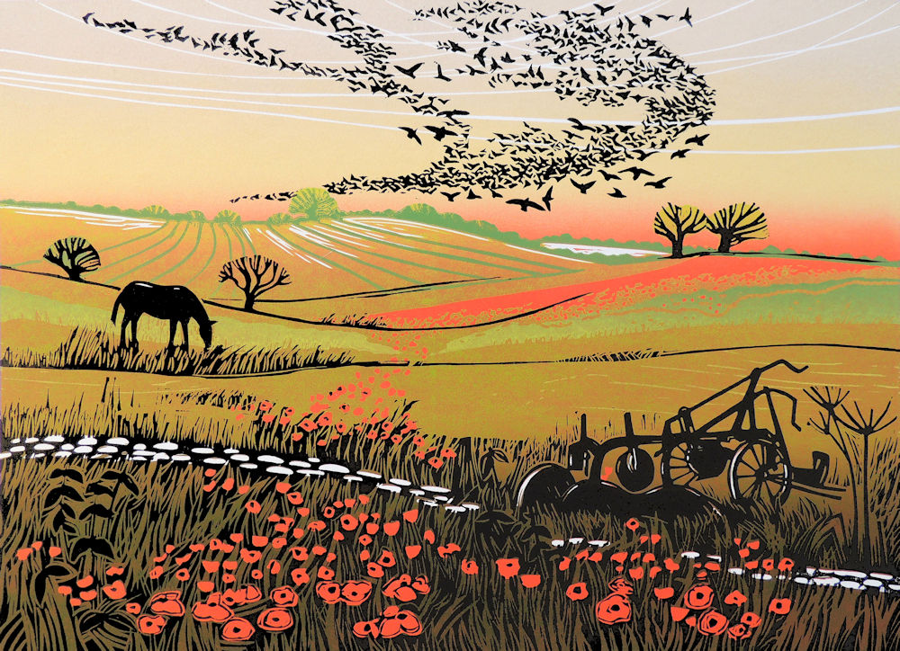 Starlings and Poppies    linocut   44.5 x 33cm   £165