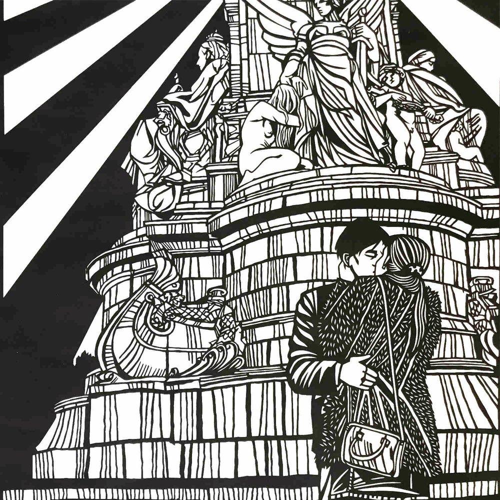 Queen Victoria Memorial, Buckingham Palace  papercut  76 x 56cm  £850