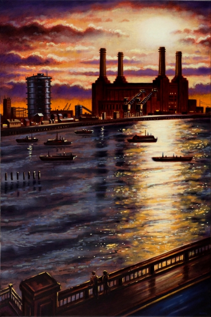 Battersea Sunlight from Vauxhall Bridge  Oil    76 x 51 cm  £1995