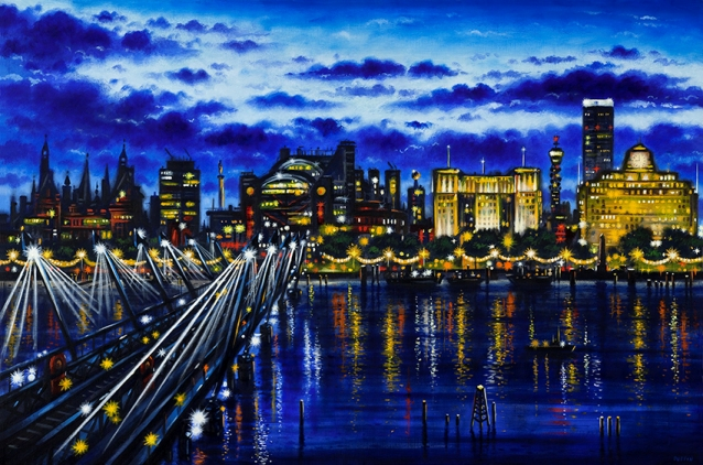 Hungerford Bridge & Jubilee Footbridges  Oil  51 x 76 cm  £1995