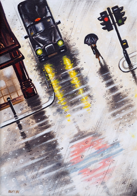 London Rain - Deluge  Oil  21 x 15 cm  £495