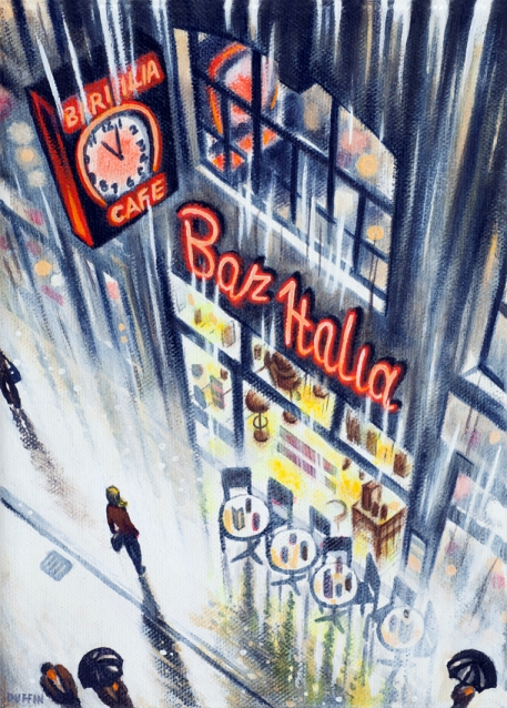 Rain - Bar Italia  Oil  21 x 15 cm  £495